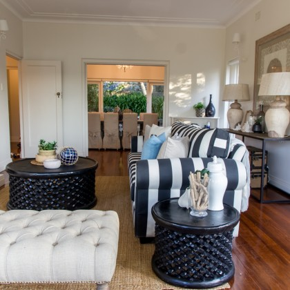 Hampton Black and White striped lounge