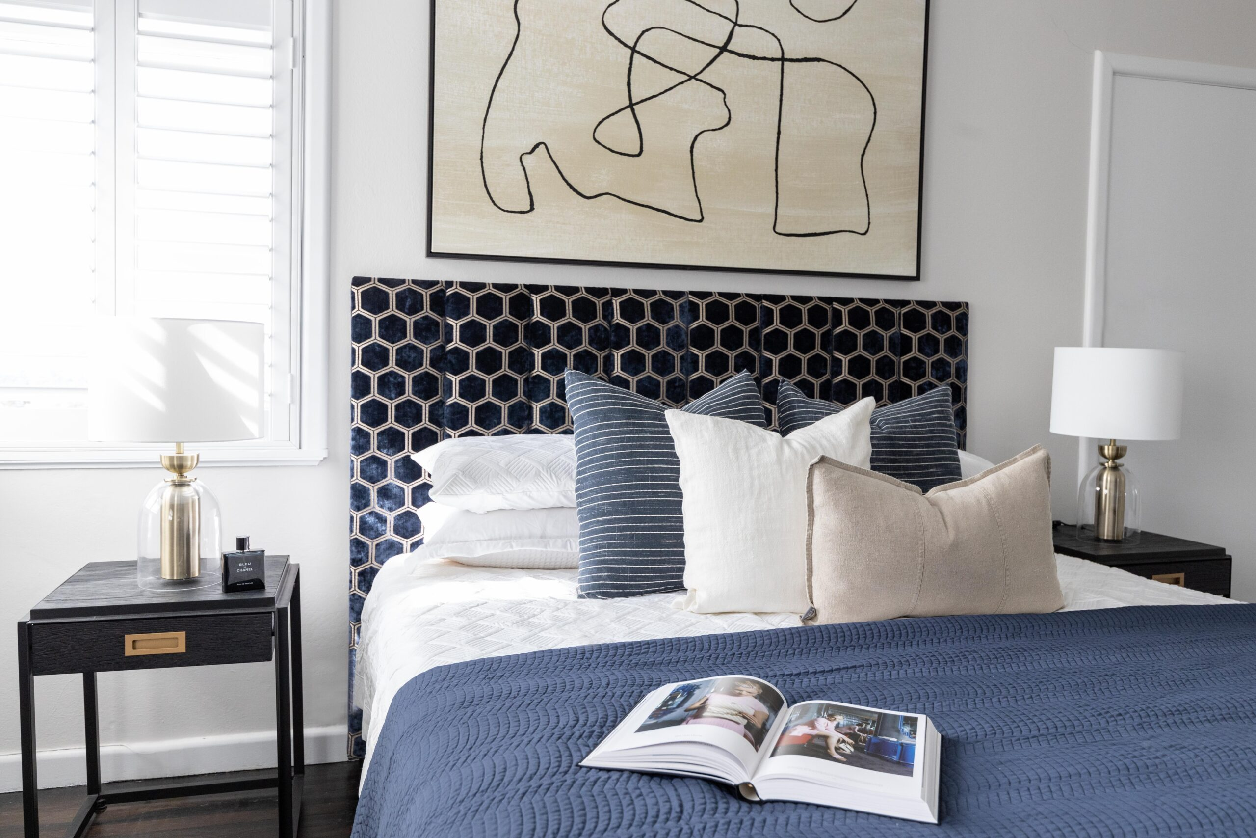 Master Bedroom with navy upholstered bedhead